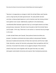 How does the threat of terrorism bring the United States and Canada together.docx