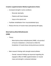 Creatine supplementation Medical applications Notes
