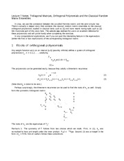 Lecture 7 Notes Tridiagonal Matrices, Orthogonal Polynomials and the Classical Random Matrix Ensembl