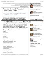 Potential Causes Of Variation Construction Essay