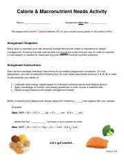 Calorie Macronutrient Needs Activity.pdf