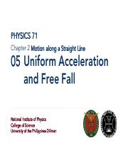 1.05 Uniform Acceleration and Free Fall
