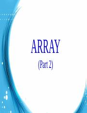 Week 14 Array (Part 2)