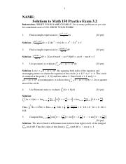Math 150 Practice Exam 3.2 (Solutions)