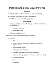 Political and Legal Environments Notes