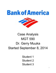 Bank of America - Strategic Analysis Case