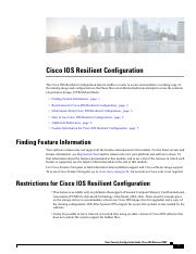 Cisco IOS Resilient Configuration