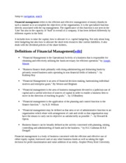 Definitions of Financial Management