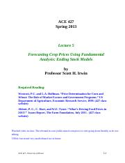 Lecture 5 - Forecasting Crop Prices with Fundamental Analysis I, STUDENT, Spring 2013