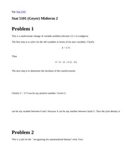 Stat 5101, Fall 1999 (Geyer) Second Midterm Solutions