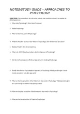 notes-study guide - approaches to psychology