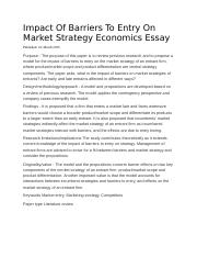 Impact Of Barriers To Entry On Market Strategy Economics Essay.docx