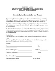 3473 Uncontrollable Absence Policy and Request form Fall 2011