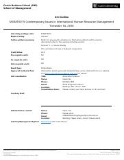 MGMT6015 Contemporary Issues in International Human Resource Management Trimester 1A 2016 Singapore