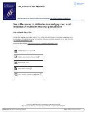 Sex differences in attitudes toward gay men and lesbians A multidimensional perspective