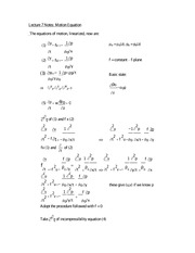 Lecture 7 Notes Motion Equation