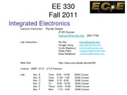 EE 330 Lect 1 Fall 2011