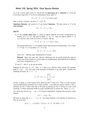 MATH 110 Spring 2014 Dual Spaces Review Notes