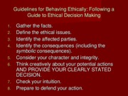 Ch. 18 - Ethical Decision Making