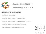 3Matrices - Ch. 1.5, 1.9