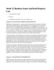 Week 15 Business Issues and Real Property Law