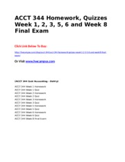 ACCT 344 Homework, Quizzes Week 1, 2, 3, 5, 6 and Week 8 Final Exam.doc