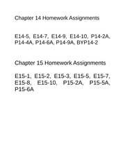 Homework Assignments chapter 14 and 15