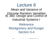 Lecture 6 Ch 3 Mean and Variance of a Discrete RV