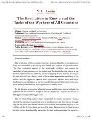 Lenin, The Revolution in Russia and the Tasks of the Workers of All Countries
