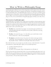 Guide to a Philosophy Paper