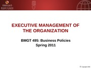 BMGT 495 Executive Management of the Firm