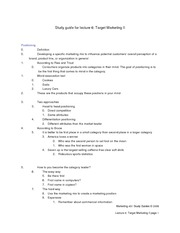 Study Guide for Lecture 6 - Target marketing II