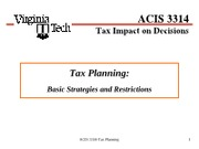 ACIS3314 Ch 3-2 Tax Planning 2 Spring 2012 Student