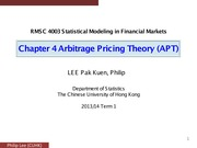 Chapter 4 Arbitrage Pricing Theory