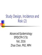 2.2 Study design, incidence and risk