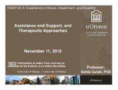 LECTURE 7 - Assistance & Support and Therapeutic Approaches