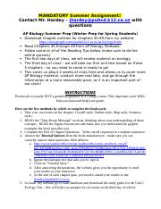 AP Biology Summer Preparation Instructions.doc
