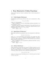 Lecture 8 handout - Utility Functions and Choice
