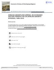 AFRICAN GROWTH RECURRING AN ECONOMIC HISTORY PERSPECTIVE ON AFRICAN GROWTH EPISODES 1690 2010
