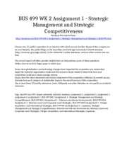 BUS 499 Week 2 Assignment 1 - Strategic Management and Strategic Competitiveness - Strayer Universit