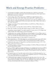 Work and Energy Practice Problems