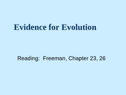 3 Evidence for Evolution