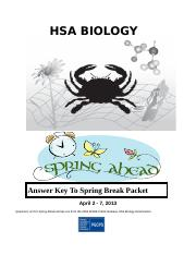 2013 HSA Biology Spring Break Packet Answers