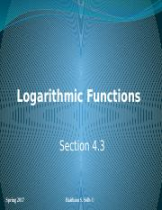Logarithmic Functions Section 4.3