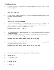 Kevin final exam review answer key