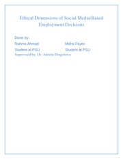 Ethical Dimensions of Social Media-Based Employment Decisions