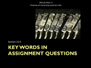 12.4 Key words in assignment questions