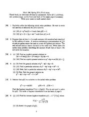 Final Exam Spring 2014 on Differential Equations