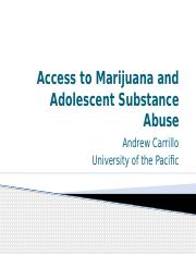 Access to Marijuana and Adolescent Substance Abuse