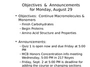 MCB 150 Macromolecules and Monomers Lecture